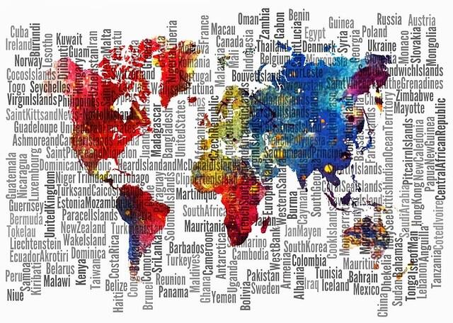 カラフルな世界地図と国名